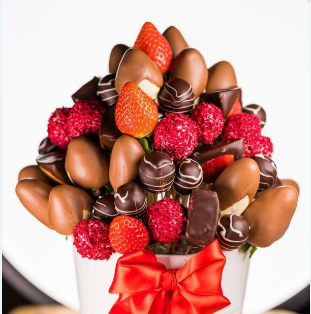 Buchet fructe in ciocolata